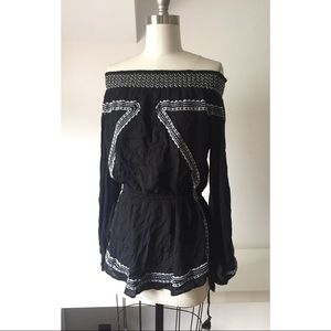 Black Embroidered RIVER ISLAND Off Shoulder Tunic